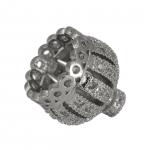 Juwelier-Perlenkappe mit Strass, 12X12mm, Metall, silberfarben