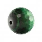 Gefärbtes Tigerauge, 12mm, rund (facettiert), dunkelgrün