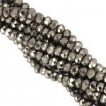 Glasschliffperle (200 St�ck), 2,5X1,6mm, briolette, silberfarben