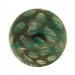 Designerperle mit Federn, 20mm, dunkelgrün