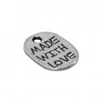 """Metallanhänger """"MADE WITH LOVE"""", 12X9mm, silberfarben"""