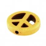 Motivperle, 15mm, Peace, gelb-khaki