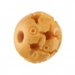 Oxbone (Naturprodukt), 12X10mm, rund, verziert mit Ornamenten, honigfarben