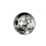 Glasperle in Kristalloptik, 8mm, rund, schwarz-transparent