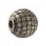 Juwelierperle, 10mm, rund, transparent/ antik-silberfarben