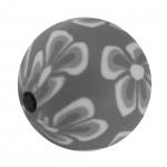 Fimoperle, 15mm, rund, grau