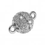 Juwelier-Kugelverschluß mit Strass, 8mm, Metall, silberfarben