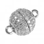 Juwelier-Kugelverschluß mit Strass, 10mm, Metall, silberfarben