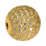 Juwelierperle, 12mm, rund, transparent/ goldfarben