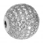 Juwelierperle, 16mm, rund, transparent/ silberfarben