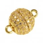 Juwelier-Kugelverschluß mit Strass, 10mm, Metall, goldfarben