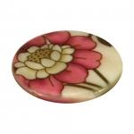 Perlmuttscheibe mit Blumen, 20mm, eierschalen weiß