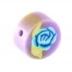 Fimoperle, 10mm, Blütenmotiv, violett