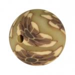 Fimoperle, 12mm, Blütenmotiv, beige-braun