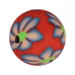 Fimoperle, 12mm, Blütenmotiv, rot
