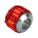 Großlochperle mit Strass, 10X10mm, Metall, rot (silberfarben)