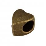 Großlochperle 'Herz', 9mm, bronzefarben