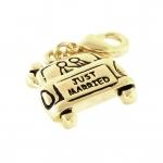 """Anhänger, 16X15mm, """"Just Married"""", goldfarben"""