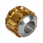 Großlochperle mit Strass, 10X10mm, Metall, (crystal golden shadow) silberfarben