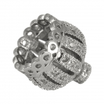 Juwelier-Perlenkappe mit Strass, 14X14mm, Metall, silberfarben