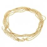Dreigliedrige Halskette (ballchain) mit Ringverschluß, 42cm, hellgoldfarben