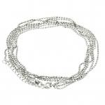 Dreigliedrige Halskette (ballchain) mit Ringverschluß, 42cm, silberfarben