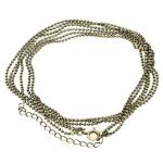 Dreigliedrige Halskette (ballchain) mit Ringverschluß, 42cm, bronzefarben
