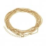Dreigliedrige Halskette (ballchain) mit Ringverschluß, 55cm, hellgoldfarben