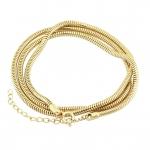 Halskette (snakechain) mit Ringverschluß, 60cm, hellgoldfarben