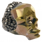 Totenkopf mit Strass, 22mm, Crystal Metallic Gold