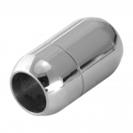 Edelstahl-Magnetverschluß, 21X12mm, Loch-Ø 8mm, silberfarben