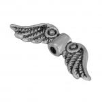 Flügelperle, 24X7mm, Metall, silberfarben