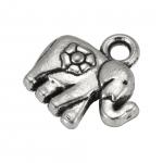 """Metallanhänger """"Elefant"""", 12X12mm, Metall, silberfarben"""