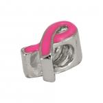 Großlochperle, 12mm, Schleife, Metall, rosa (silberfarben)