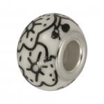 Großlochperle aus Keramik, 13mm, Rankenmuster schwarz
