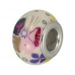 Großlochperle aus Keramik, 13mm, Blumenmuster bunt