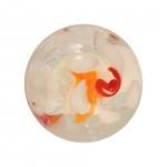Glasperle (Leuchtperle), 15mm, weiß/rot