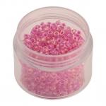 Rocailles, 20g, rund, 3mm (8/0), transparent rainbow mit pink-farbenem Farbeinzug