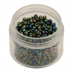 Rocailles, 20g, rund, 3mm (8/0), grün-blau metallic