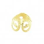 Perlenkappe, 8mm, rund, hellgoldfarben
