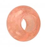 Großlochperle (phosphorisierend), Glas, 14mm, rosa-apricot