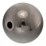 Perle, 14mm, rund, antik silberfarben