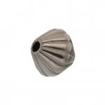 Perle (10 Stück), 6mm, bikonisch, antik silberfarben