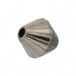Perle (10 Stück), 8mm, bikonisch, antik silberfarben