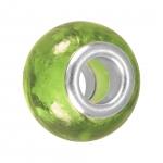 Großlochperle (phosphorisierend), Glas, 14mm, khaki-grün