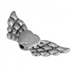 Flügelperle, 22X10mm, Metall, silberfarben