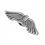 Flügelperle, 22X7mm, Metall, silberfarben
