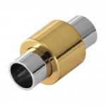Magnetverschluß, 20X11mm, Loch-Ø 6mm, Metall, silber-goldfarben