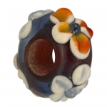Handgefertigte Großlochperle, Glas, 16mm, lila farben
