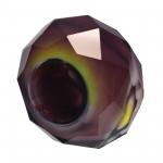 Großlochperle, Glas, 13mm, lila farben